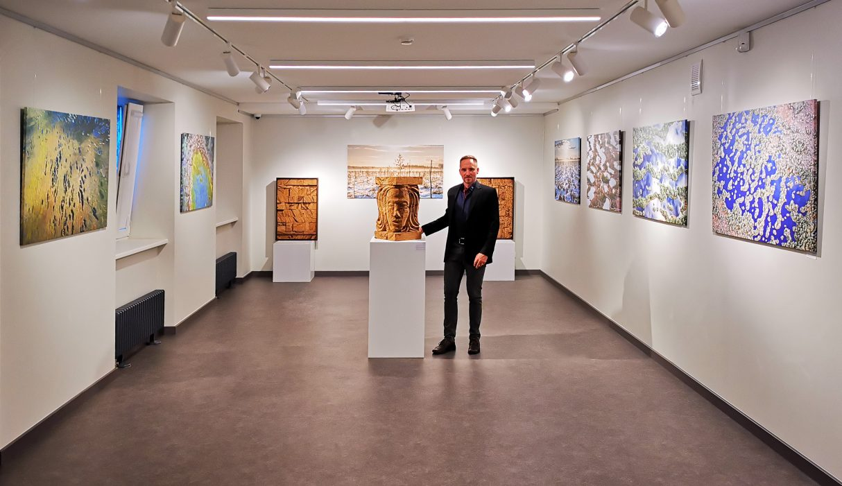 Atis Luguzs at an exhibition of Olaine History and Art Museum.