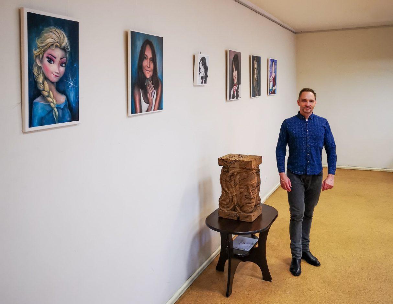 Artist Atis Luguzs at his exhibition of Women portraits at Zaļenieki Culture House